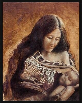 American Indian mother and baby , oil painting, original, 16x20