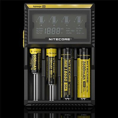 Nitecore D4 LCD Intelligent Battery Charger For Li-ion 26650 18650 Ni-MH Ni-Cd
