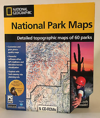 National Geographic 60 US National Park Topographic Maps on 5 CD-ROMs