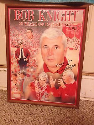 Bob Knight Autographed Poster 25 Years Of Excellence IU Indiana University