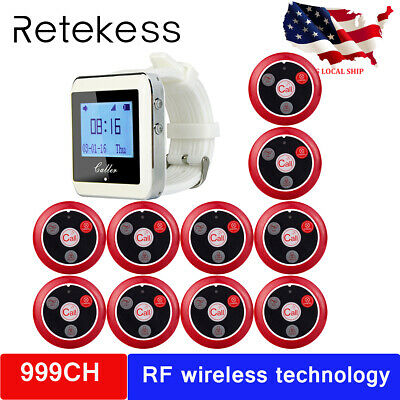 New Restaurant Guest Paging Calling System 1 Watch Receiver+10 Call Button Pager