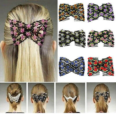 Stretch Rose Flower Bow Glass Bead Hair Comb Cuff Double Insert Clips Showy