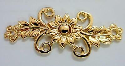 Pack of 6 Gold Tone Flower Design Alloy Clasp Fastener Cloak Cardigan Closure