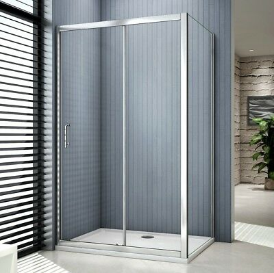New Shower Enclosure Sliding Door Walk In Glass Cubicle Side Panel Stone Tray