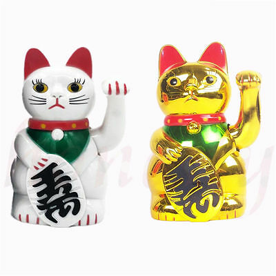 5 '' Chinese Lucky Money Waving Cat Figure with Moving Arm Gold Powered Battery