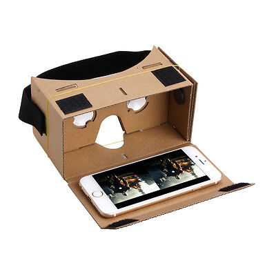 VIRTUAL REALITY GOOGLE CARDBOARD HEADSET 3D VR BOX GLASSES FOR iPHONE ANDROID UK