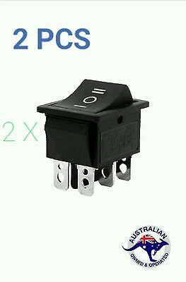 2Pcs x 6-Terminals 3 Position ON/OFF/ON DPDT Boat Rocker Switch 16A 250VAC 20A