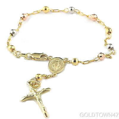 Rosary In 14k Solid Multi Color Gold Beads Our Lady of Guadalupe Bracelet