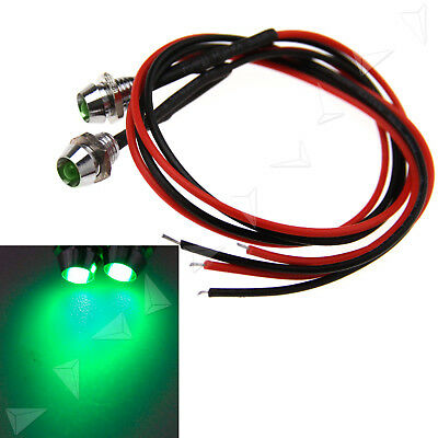 2pcs 6mm Car Panel Indicator Lamp 12V Warning Light Green LED Truck Boat