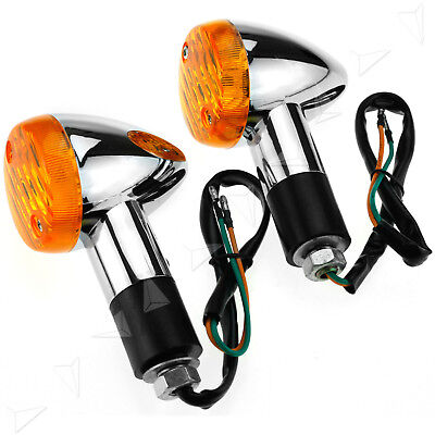 2x Motorcycle Bullet Turn Signal Indicator Light Lamp 12v Amber Chrome