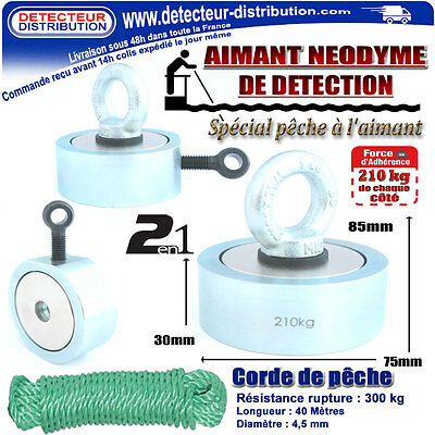 neodymium magnet double faces 2 in 1 - Adherence 210 kg's each côté + Twine