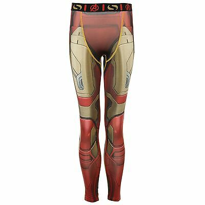 Sondico Marvel Iron Man Baselayer Tights Juniors Red Sports Compression Pants