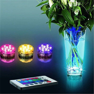 10 Led Rgb Lights Party Vase Underwater Waterproof Remote Control Lamps Distinct
