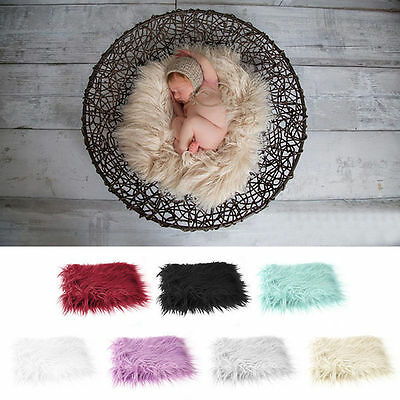 New Newborn Baby Infant Soft Faux Fur Rug Mat Blanket Photography Backdrop Props
