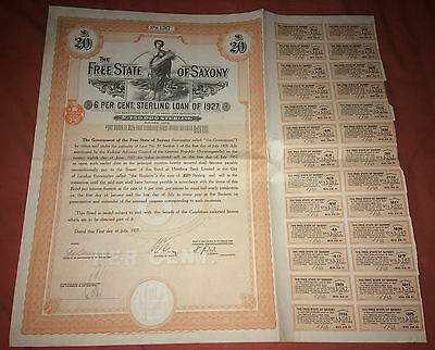 The FREE STATE of SAXONY 6% sterling loan of 1927