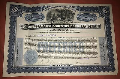 AMALGAMATED ASBESTOS CORPORATION share certificate 1910