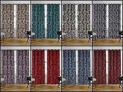 Jacquard With Full Black Damak Flock Eyelet Ringtop Curtains In 8 Colors 7 Sizes