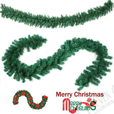 270cm (9ft) x 20cm Imperial Pine Christmas Garland Plain Green