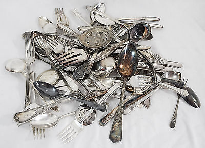5LB Misc. Mixed Lot Silverplate Flatware (Lot 46) - 66 pc for Table or Crafts