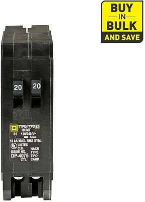 Square D Homeline 20 Amp 1 Pole Tandem Circuit Breaker Main Schneider Electric