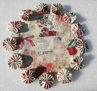 Vintage Style Valentine Cards On A YoYo Candle Mat Doily