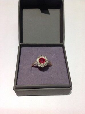 Bague Ronde rubis et Diamants Or 18ct et Platine
