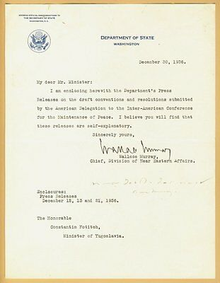 1936 Secretary of State Wallace Smith Murray  letter signed  Member of Masons