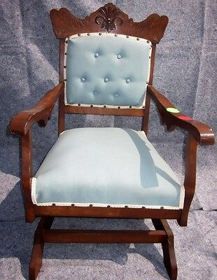 Antique Eastlake Rocking Chair with Blue Upholstery