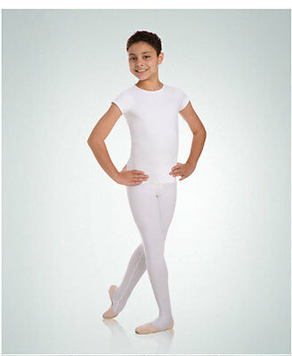Body Wrappers B400 Boy's Size 9-10 White Short Sleeve Snug Fit Pullover Shirt