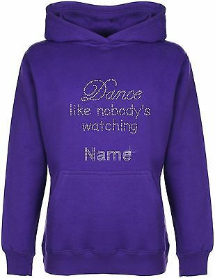 Personalised Dance Like Nobody's Watching Rhinestone Embellished Girls' Hoodie