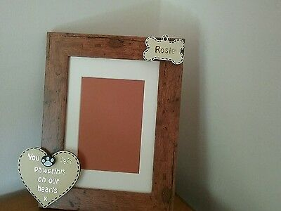 Personalised Rustic Photo Frame - Pet Dog Memorial - You Left Pawprints On Our