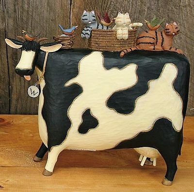 """Large Cow with CATS and Birds - """"Ride Share"""" - Williraye - 7862"""