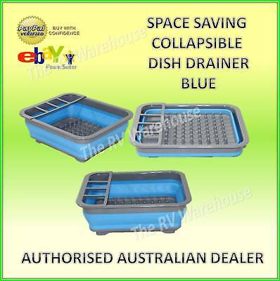 Dish Drainer Blue Collapsible Space Saving New Caravan Kitchen Silicone
