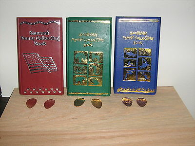 3 Elongated Penny Souvenir Collector Books With SIX FREE PRESSED PENNIES!! NEW!