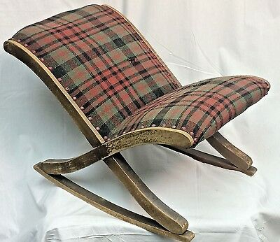 Antique Vintage Original Plaid Upholstered Low Sitting Rocking Child's Chair