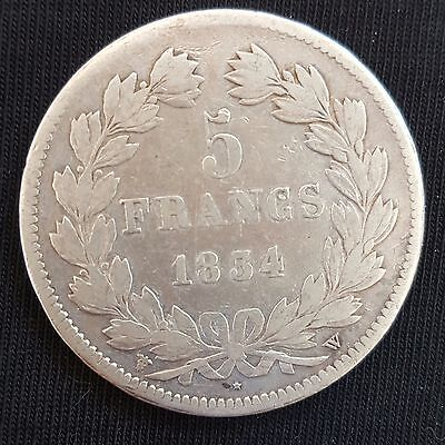1834-W FRANCE 5 Francs (Louis Philippe 1) Silver Crown Size Coin....