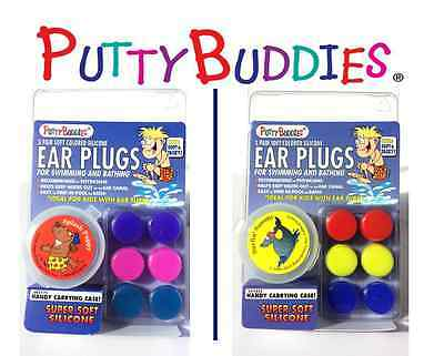 PUTTY BUDDIES- Original Soft Ear Plugs +  FREE Carry Case- 3pk for Swim and Bath