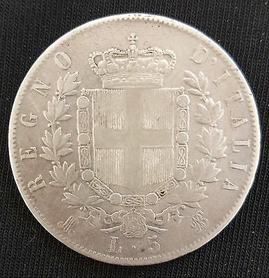 1874 Italy, (Vittorio Emanuele II), 5 Lire, Crown Size Silver Coin....