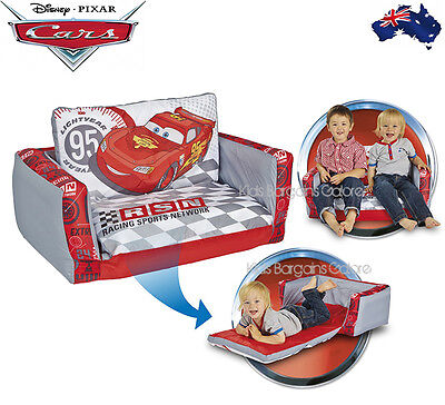 GENUINE Aus Qlty Kids Disney Cars Inflatable Flip Out Sofa Couch/Bed for 2