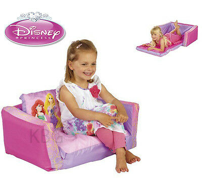 GENUINE Aus Qlty Kids Disney Princess Inflatable Flip Out Sofa Couch/Bed for 2