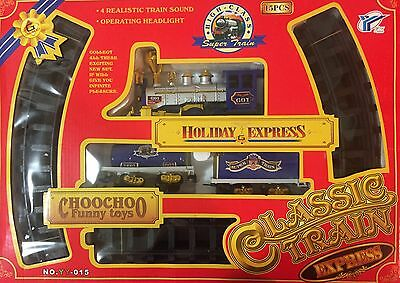 High-Class Super Train Set Classic Holiday Express  Battery Operated - Blue