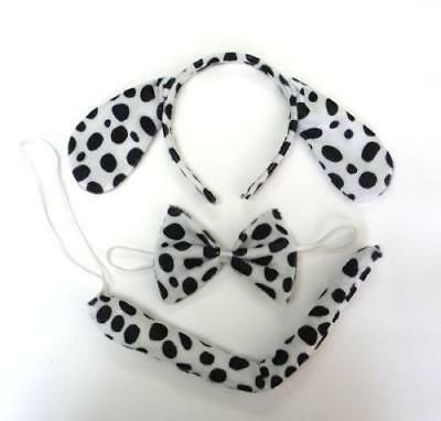 Dalmation Dalmatian Ears Tail & Bow Tie Set Unsiex Hen Party Fancy Dress Costume