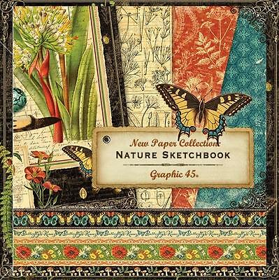 Graphic 45 NATURE SKETCHBOOK (12) 12x12 Paper Collection Mixed Media Scrapbook
