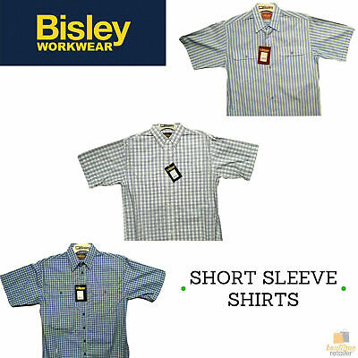 BISLEY SHORT SLEEVE SHIRT Everyday Casual Business Work Cotton Blend Check
