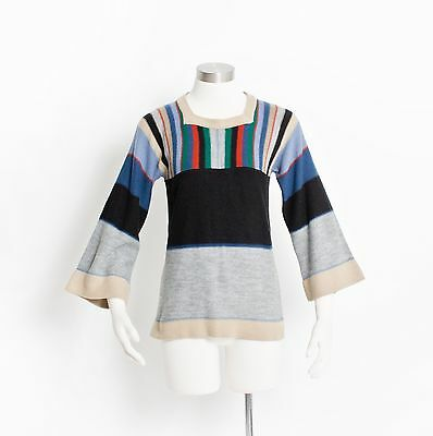 Vintage 70s Sweater - Knit Bell Sleeve Hippie Knit Pullover Striped Color Block