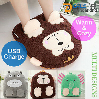 Warmer Foot Warmer&pillow Heater Slippers  Plush Toy Gift Home Office USB Shoes