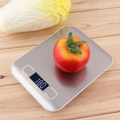 5kg Modern Silver Digital LCD Electronic Kitchen Cooking Food Weighing Scales UK