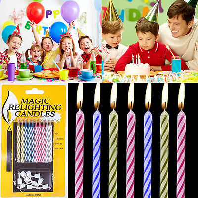 10xMagic Relighting Candle Relight Birthday Party Colorful Fun Trick Cake Xmas l