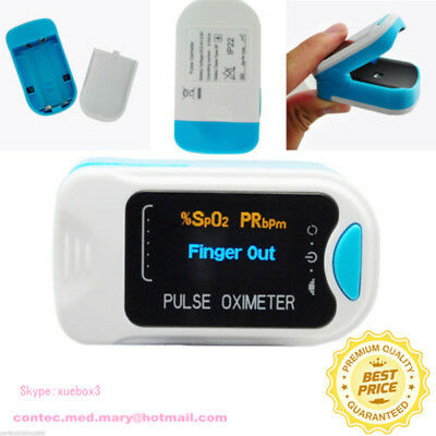 CE Finger Tip Pulse Oximeter SPO2 PR Blood Oxygen Heart Rate Monitor+ Pouch OLED