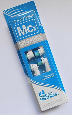 Pack of 4 Molarclean Toothbrush Heads Compatible with most Oral-B - Free Post Pk